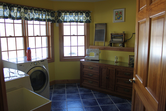 Wooden laundry cabinets