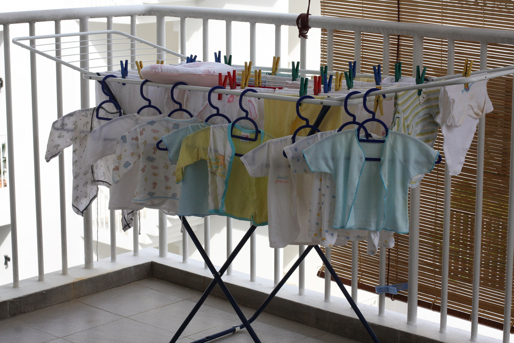 Hang drying baby's clothes