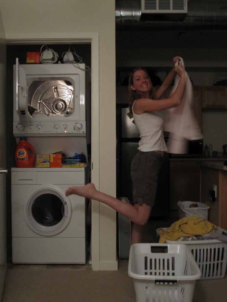 enjoying laundry